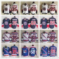 빈티지 CCM 뉴욕 레인저스 하키 유니폼 68 Jaromir Jagr 35 Mike Richter 99 Wayne Gretzky V 넥 91-92 블루 75 주년 패치 저지
