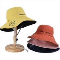 جهين للجنسين هاراجوكو دلو قبعة الصيد القبعات في الهواء الطلق للنساء واقية من الشمس مبتسم مطرزة الصياد قبعة