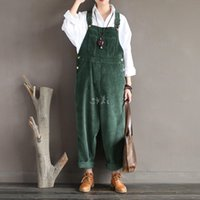 Wholesale- 2016 New Arrival Women Corduroy Overalls Boy Friends Fit Woman Jumpsuit loose full length pants Femme Bib Causal Daily Trousers