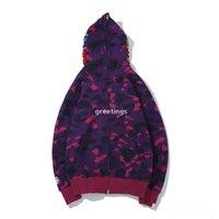 Mais novo amante camo tubarão impressão algodão camisola hoodies homens casual roxo vermelho camo cardigan casaco com capuz u z