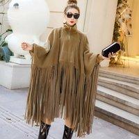 Women's Jackets 2021 Autumn Winter Womens Plus Size Overcoat Fashion Clothing Batwing Sleeve Suede Tassel Cloak Fall Jacket For Women SA065S