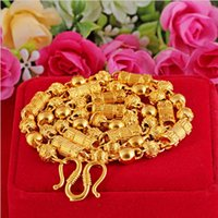 weighty Heavy! men classic chain 24k gold filled necklace beads Men's Necklaces fashion Vintage link Jewelry good quality chains for party