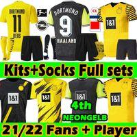 Erwachsene + Kinder Kits + Socken Full Sets 21/22 Dortmund Fussball Jerseys Spezielle Fans Spieler Version 2021 Haaland REUS Sancho Reyna Bellingham Hummels Brandt Football Jersey