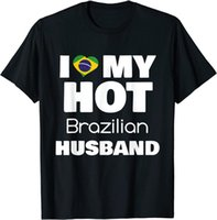 Men's T-Shirts Married To Brazil Man I Love My Brazilian Husband Men T-Shirt Short COTTON 100% Clothing