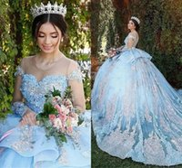 Princess Ball Gown Lace Quinceanera Dresses Sky Blue 15 Sweet 16 Puffy 3D Floral Plus Size Prom Party Gowns Vestidos De Novia
