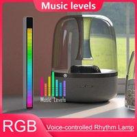 Nova luz de ritmo de pickup ativada por voz RGB, Controle de som colorido criativo Ambiente com indicador de nível de música de 32 bits Carro desktop LED luz CPA5934