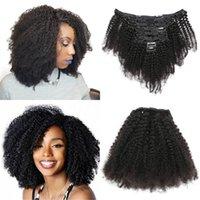 Clip di capelli umani brasiliani nelle estensioni Afro Kinky Clip-in clip-in bundle per le donne nere 8pcs / set 120 g 8-20 pollici Remy