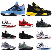 Hotsale Mens Outdoor Shoes 4s Cactus Jack Thunder Tattoo Bred Fire Red Cool Grey Pure Money Motorsport Mens Sports Sneakers Size 7-13