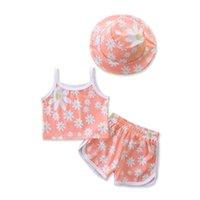 Младенческие комплекты одежды для девочек наряды Детская одежда Детские летние Повседневная Симпатичные Цветочные Цветы Топы Шляпы Шорты 3 шт. B5976