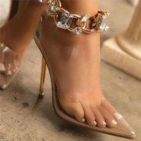 Sandalet 2021 Yaz Kadın 11 cm Yüksek Topuklu Bayan Platformu Fetiş Altın Zincir Kristal Sandles Kadın Turunn Striptizci Gladyatör Ayakkabı