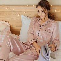 Damen Seiden Satin Pyjamas Pyjamas Set Langarm Sleepwear Pijama Pyjamas Anzug Weibliche Schlaf Zweiteiler Set Loungewear Plus Größe 562 R2