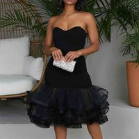 Frauen Sexy Tube Top Black Dresses Mesh Patchwork Plus Größe aus Schulter Bodycon Abend Party Hochzeit Feiern Ereignis Robe Gown 210513