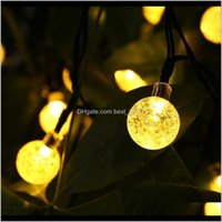 Decorations Festive Party Supplies Home & Garden30 Led Crystal Ball Water Solar Powered Globe Fairy 8 Working Effect For Outdoor Garden Chri