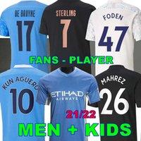 Camisa de futebol da cidade de Manchester da Tailândia 2020 2021 STERLING DE BRUYNE KUN AGUERO 20 21 Ventiladores versão de jogador homem camisa de Mahrez FODEN
