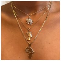 Pendant Necklaces 3 Pcs Set Vintage Crystal Elephant Pyramid Ancient Egyptian Pharaoh Map Multilayer Gold Necklace Punk Lady Jewelry Gifts