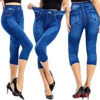 Frauen Denim Print Leggings Mode Slim Leggings Faux Jeans Stretch Gedruckt Kurze Leggins Hosen Sommerröhren1