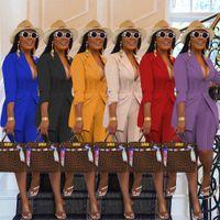 Ofis Lady İki Parçalı Kısa Set Eşofman kadın Giyim Bel Şekli Uzun Kollu Blazer Üst Ve Diz Boyu Pantolon OL Kıyafetler