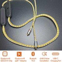 Bluetooth inalámbrico compatible con el cable de actualización de 5.2 auriculares APTX Audio adaptable 8-Strands Single Crystal Cobre Plateado Alambre