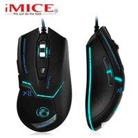 IMICE USB 유선 컴퓨터 게이머 게임 3200 DPI 조정 가능한 광학 마우스 게임 인체 공학적 노트북 PC 마우스 X8