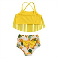 Yellow Cartoon Banana Sling Swimsuit For Baby Girls Bow Tassel Swimming Bikini Tank Tops+Shorts Suits Little Girl Swimwear 1-4T One-Pieces
