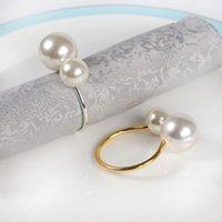 Porte-serviettes Perle Porte-bague Napkinring Wed Silver Gold Couleur pour la décoration de la table de mariage WLL1009