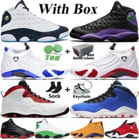 Jumpman High OG Men Basketball Shoes Hyper Royal 14 14s Dirty Bred 13s Obsidian Lucky Green Flint Top 10 10s Steel Grey Cement Mens Sports Sneakers Trainers Size 13