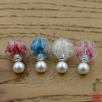 Sterling Neue 925 Sier Perlenohrringe, Glaskugel, Trockene Blume und Farbtechnik, verschiedene Arten verfügbar