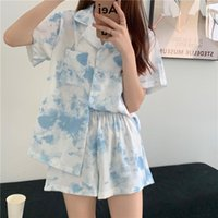 Women's Tracksuits Short Sleeved Shorts Suit Female Lapel Korean Sweet Student Home Clothes Comfortable And Loose Sleep Wear Blue White Pink