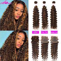Human Hair Bulks Ali Coco Deep Wave Highlight Colored Bundles With Closure P4 30 3 4 Hightlight Curl