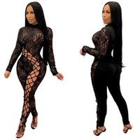 Women plus size Jumpsuits Rompers fall winter clothes sexy club hollow out sheer lace long sleeve full-length pants leggings bodysuit capris stylish panelled 01585