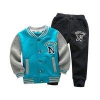 Kids Baseball jogging terno escola meninos meninas terno de esportes roupas de vestuário crianças sweatershirt + calças 2 pcs filhos de fita A86 201277