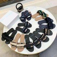 Роскошный плоский сандал дизайн вышивка черный тапочки неглубокий пляжный досуг крытый шнурок блокировки полный набор аксессуаров 35-41 Shoe008 130100