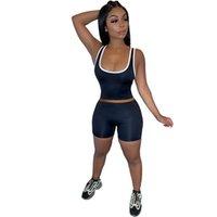 Summer Femmes Tracksuits 2 Deux Pieces Pantalons Shorts Set Sexy Solid Color Vest Court Suit Sans manches Tenue de yoga Slim Shirt 007