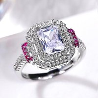 Wedding Rings Fashion Big Square Crystal Stone For Women Bridal Ring Luxury Engagement Party Anniversary Gift Large