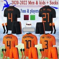 22 22 Memphis Soccer Jerseys de Jong 2021 2022 Holland Strootman Van Dijk Virgil Player Версия футбола Рубашка взрослых мужчин + детский комплект