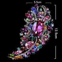 مصنع فاخر متعدد الالوان بوصة حجر الراين الحجم الضخم أنيقة 5 كريستال ديامانتي هدية كبيرة بروش 10 ألوان availa
