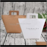 Wrap Event Festive Supplies Home & Garden Drop Delivery 2021 1Pcs Thank You Kraft Paper White Candy Bag Wedding Favors Gift Box Package Birth