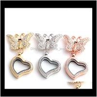 Halsketten Drop Lieferung 2021 Top Grade Bow Medaillon Transparente Glasrahmen Floating Charms Erinnerungsmediziner Anhänger Broschen Pins DIY Juwelr