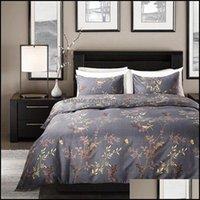 Suministros Suministros Garden Modern Style Gray Color Ropa de cama King Tamaño Bronceado Flor y aves Patrón Duvet ER Set Exquisite Luxury Home Textile