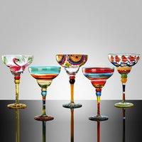 Handgefertigte bunte Kristallglas Weinschale Kreative Cocktail Cups Margarita Becher Champagner Weingläser Home Bar Decor Drinkware