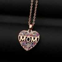 Hollow Letter Mom Ziron Diamond Heart pendant necklace Stainless steel chains fashion jewelry Mother birthday gift will and sandy