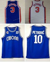 Vintage Drazen 3 Petrovic Formalar Cibona Zagreb Koleji Basketbol Drazen 10 Petrovic Jersey Mavi Nefes Spor Gömlek Dikişli