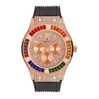 Missfox Life Waterproof Quartz Quartz CWP Mens orologi quadrati colorato diamante raffinato zircone cinturino in silicone in silicone