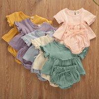 2 шт. Newborn Baby Girls Одежда для одежды Симпатичные мягкие хлопчатобумажные Твердые оборками с короткими рукавами футболки Tops + шорты наряды