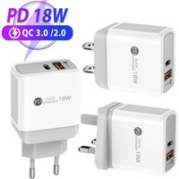 18W PD+QC3.0 USB C Charger Fast Charging Wall Power Adapter EU UK US Plug for iPhone Xiaomi Samsung