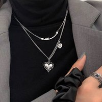 Japan and South Korea S925 Silver Love Necklace Light Luxury Niche 2021 New Women's Summer Short Clavicle Chain