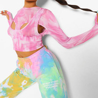 Spring knits pink tie dye printed long sleeve T-shirt women's bottom sweater and summer wear1910504143