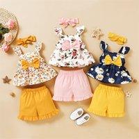 Baby Girl Vêtements Ensemble Été Toddler Enfants Floraux Sans manches Top Shorts Sweet Bandeau 3pcs Baby Vêtements Ensemble Girls Outfits 334 Y2