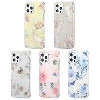 Capas de telefone celular das mulheres de choque florais claras para o iPhone 12 11 pro máximo xr xs 8 7 mais Ultra Dual revestido IMD Bela flor padrão Capa de celular