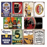 2021 Vintage Iron Painting Corona Bacardi Classic Beer Metal Plaque Bar Home Wall Decor Signs Retro Crafts Poster Tin Sign Man Cave Pub Kitchen Plates 30X20cm